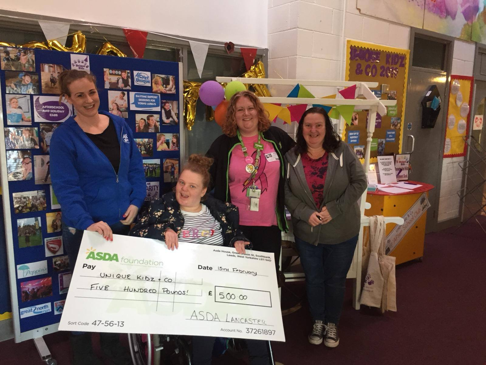 Asda Community Champion Hayley drops off cheque at Unique Kidz and Co for winning the green token giving programme